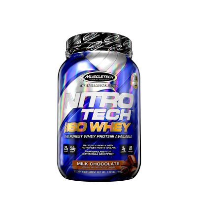802306 web MuscleTech Nitro Tech 100 Iso Whey Milk Chocolate Front Tub